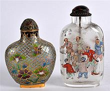 AN EARLY 20TH CENTURY CHINESE REVERSE PAINTED SNUFF BOTTLE together with an