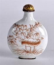 A CHINESE ENAMEL SNUFF BOTTLE AND STOPPER painted with two geese within a l