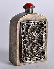 A CHINESE REPUBLICAN PERIOD WHITE METAL SNUFF BOTTLE AND STOPPER decorated