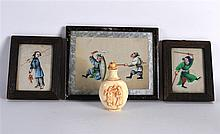 AN EARLY 20TH CENTURY CHINESE CARVED BONE SNUFF BOTTLE AND STOPPER together