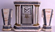 A FRENCH ART DECO CLOCK GARNITURE with square dial and bold numerals. Clock 1ft 4ins high. (3)
