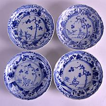 A SET OF FOUR 18TH CENTURY CHINESE CA MAU CARGO SAUCERS painted in the Wanli manner with a spotted deer within a landscape. 5Ins diameter. (4)
