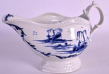 AN INTERESTING 18TH CENTURY WORCESTER SAUCEBOAT of rare shape, painted with a fisherman on an island to each side. 7.25ins wide.