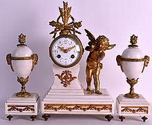 A LATE 19TH CENTURY FRENCH BRONZE AND WHITE MARBLE CLOCK GARNITURE with foliate painted dial. Clock 1ft 2ins high.