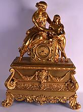 A FINE MID 19TH CENTURY FRENCH ORMOLU MANTEL CLOCK ON STAND modelled as a classical female beside another figure reading a book, the dial decorated with acanthus and flowers. 2Ft 10ins x 1ft 11ins.