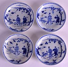 A SET OF FOUR 18TH CENTURY CHINESE CA MAU CARGO SAUCERS painted with two scholars before a spotted deer within a landscape. 4.25ins diameter. (4)
