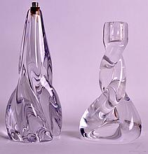 A SEVRES CLEAR GLASS VASE converted to a lamp, together with another French clear vase. Vase 6.5ins & 8.5ins high. (2)