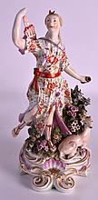 AN 18TH CENTURY DERBY FIGURE OF DIANA modelled with a hunting dog. 10Ins high.