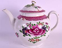 AN 18TH CENTURY WORCESTER TEAPOT AND COVER painted in the Chinese export style with central floral sprays. 7.75ins wide.