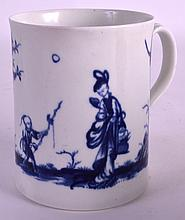 A GOOD 18TH CENTURY WORCESTER MUG painted with two Oriental figures and birds. 3.75ins high.