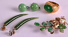 A CHINESE YELLOW GOLD GENTLEMANS JADE RING together with a 14kt gold and jadeite brooch & 2 x pair of earrings. (6)