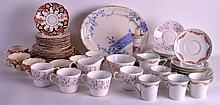 A SET OF SIX 19TH CENTURY ENGLISH DERBY STYLE TEACUPS AND SAUCERS together with other wares. (qty)
