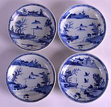 A SET OF FOUR 18TH CENTURY CHINESE CA MAU CARGO CAFE AU LAIT SAUCERS painted with a figure before fishing upon a lake. 4Ins diamater. (4)