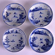 A SET OF FOUR 18TH CENTURY CHINESE CA MAU CARGO SAUCERS painted with a figure before a lakeland landscape. 4.25ins diameter. (4)