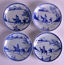 A SET OF FOUR 18TH CENTURY CHINESE CA MAU CARGO SAUCERS painted with a figure following another upon a horse. 4.5ins diameter. (4)
