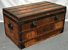 A GOOD EARLY 20TH CENTURY LOUIS VUITTON TRAVELLING TRUNK initialled FWT with internal Vuitton label, with iron mounts and striped residue decoration. 2ft 7.5ins x 1ft 5ins.