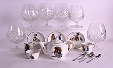 A 1940S ENGLISH CHILDS POTTERY TEASET printed with nursery scenes, together with various brandy glasses. (qty)