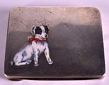 A GERMAN ART DECO SILVER AND ENAMEL RECTANGULAR COMPACT painted with a small hound. 3Ins x 2.75ins.