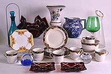 A BOX OF VARIOUS CERAMICS AND GLASSWARE including paperweights, a Doulton jug etc. (qty)
