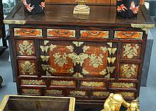 AN EARLY 20TH CENTURY KOREAN HARDWOOD CHEST with brass mounts and foliage. 3Ft 2ins x 2ft 5ins.