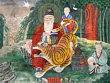 CHINESE SCHOOL (19TH CENTURY) SCHOLAR AND A TIGER with attendants, Oil on canvas. 4Ft x 3ft.
