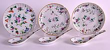 A SET OF THREE EARLY 20TH CENTURY CHINESE FAMILLE ROSE SAUCERS Guangxu, painted with insects and flowers, together with three spoons.  5.25ins diameter. (6) Provenance: Property of a deceased local estate.