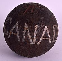 A RARE BRITISH 3LB CANNON BALL C1760 from Canada. 4Ins diameter.