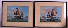 CHINESE SCHOOL (19TH CENTURY) A PAIR OF MARITIME SCENES Oil on canvas, depicting boats in full sail. Each 12.5ins x 9.5ins.
