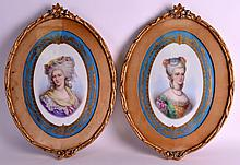 A GOOD PAIR OF 19TH ENTURY SEVRES PORCELAIN PANELS painted with female portraits, within powder blue borders highlighted in gilt. 8.25ins x 1ft.
