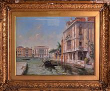 ITALIAN SCHOOL (19TH CENTURY) VENETIAN SCENE Oil on canvas, contained within a giltwood frame. Signed. Image 1ft 4ins x 11.5ins.