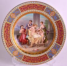 A LATE 19TH CENTURY VIENNA PORCELAIN CABINET PLATE together with another Vienna cabinet plate. 9.25ins diameter. (2)