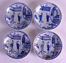 A SET OF FOUR 18TH CENTURY CHINESE CA MAU CARGO SAUCERS painted with two figures before a male peering from a window. 4.25ins diameter. (4)