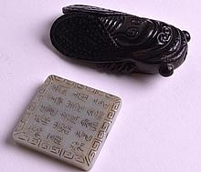 A 19TH CENTURY CHINESE CARVED JADE FIGURE OF A CICADA FLY together with a 20th century square jade plaque. (2)