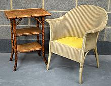 A LLOYD LOOM TYPE CHAIR together with a stained bamboo two tier table. (2)