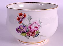 A RARE 18TH CENTURUY DERBY FINGER BOWL painted with scattered flowers and roses. 3.5ins diameter.