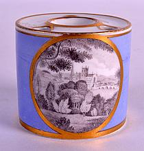 AN EARLY 19TH CENTURY CHAMBERLAINS WORCESTER DRUM INKWELL painted en grisaille with a church scene. 2Ins high.