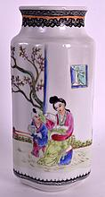 A CHINESE REPUBLICAN PERIOD FAMILLE ROSE LOBED VASE painted with a figure and child within a garden. 5.75ins high.