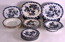 A QUANTITY OF 19TH CENTURY WEDGWOOD PEARL FLOW BLUE AND WHITE DINNERWARES decorated in the Rose & Jessamine pattern, together with other plates. (qty)