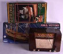 A RETRO PHILIPS  BAKELITE RADIO together with two kit model boats. (3)