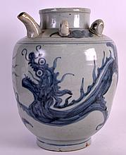 A 19TH CENTURY KOREAN BLUE AND WHITE POTTERY EWER painted with a stylised dragon. 12.5ins high.