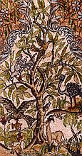 A SMALL PERSIAN SILKWORK RUG finely depicted with animals within a landscape. 2Ft 7ins x 1ft 8ins.