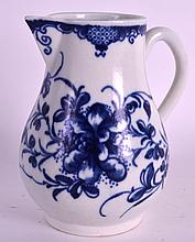 AN 18TH CENTURY WORCESTER SPARROWBEAK JUG painted in underglaze blue with the Mansfield pattern. 4.5ins high.