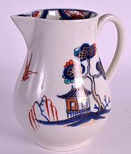 A FINE AND RARE 18TH CENTURY WORCESTER SPARROWBEAK JUG painted with a house beside a tree (No example of this pattern in just underglaze blue appears to be recorded). 3.75ins high.