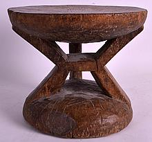 AN EARLY 20TH CENTURY CARVED AFRICAN TRIBAL STOOL with circular top, thick carved supports. 9Ins x 7ins.