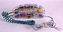 A RETRO PERSPEX TELEPHONE with visible workings. 8.5ins long.