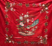A PAIR OF MID 20TH CENTURY CHINESE EMBROIDERED CLOTHS decorate with extensive foliage.