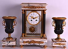 AN EARLY 20TH CENTURY FRENCH EMPIRE DESIGN MARBLE AND BRONZE CLOCK GARNITURE with floral painted dial. Clock 1ft 2.5ins high.