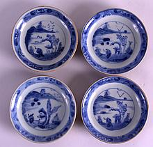 A SET OF FOUR 18TH CENTURY CHINESE CA MAU CARGO SAUCERS with cafe au lait backing, painted with a figure before a lake. 4Ins diameter. (4)
