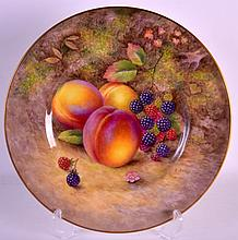 A MID 20TH CENTURY ROYAL WORCESTER CABINET PLATE painted with fruit by H Ayrton. 10Ins diameter.