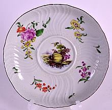 A RARE 18TH CENTURY WORCESTER EQUELLE STAND painted with flowers a central study of a melon. 6Ins diameter.